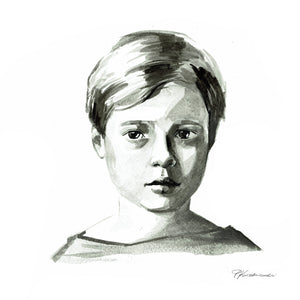 Black and white ink portrait (painted from a photograph)