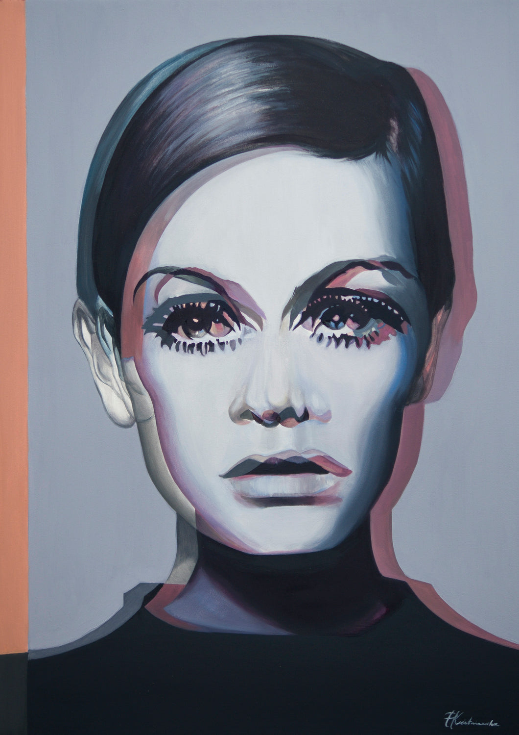 Twiggy oil painting reproduction - About Face Illustration
