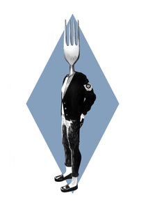 Fork Greeting Card - About Face Illustration