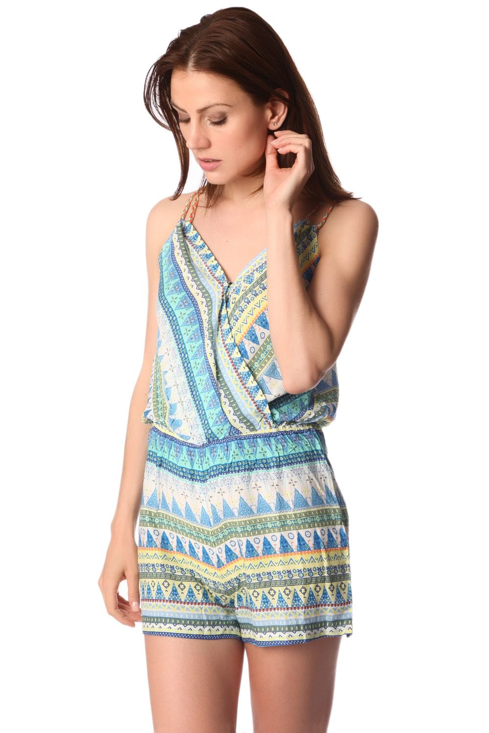 yellow-wrap-front-romper-in-geo-tribal-print