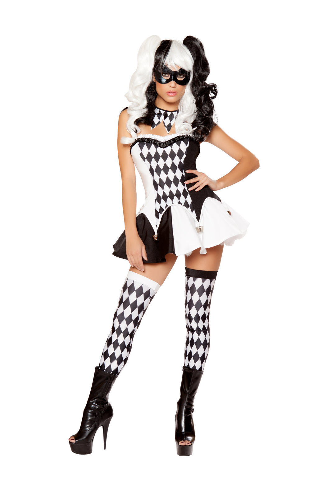 4-PC-Court-Jester-Harlequin-Black-&-White-Top-and-Skirt-w/-Neckpiece-Costume