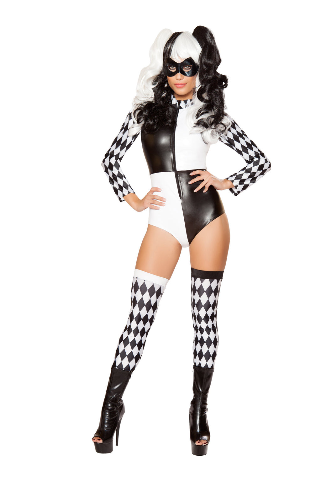 2-PC-Court-Jester-Harlequin-Black-&-White-Harlequin-Romper-w/-Mask-Costume