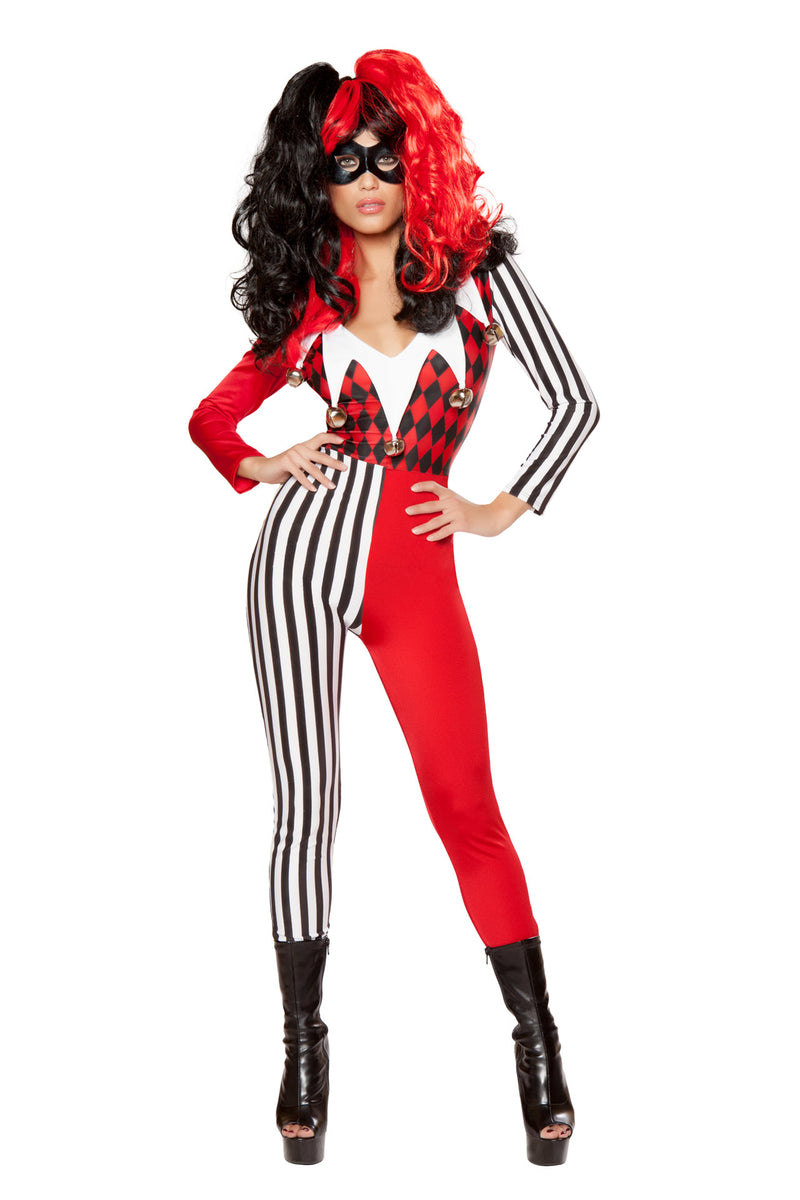 2-PC-Crazy-Jester-Villian-Harlequin-Black-&-Red-Jumpsuit-w/-Mask-Costume
