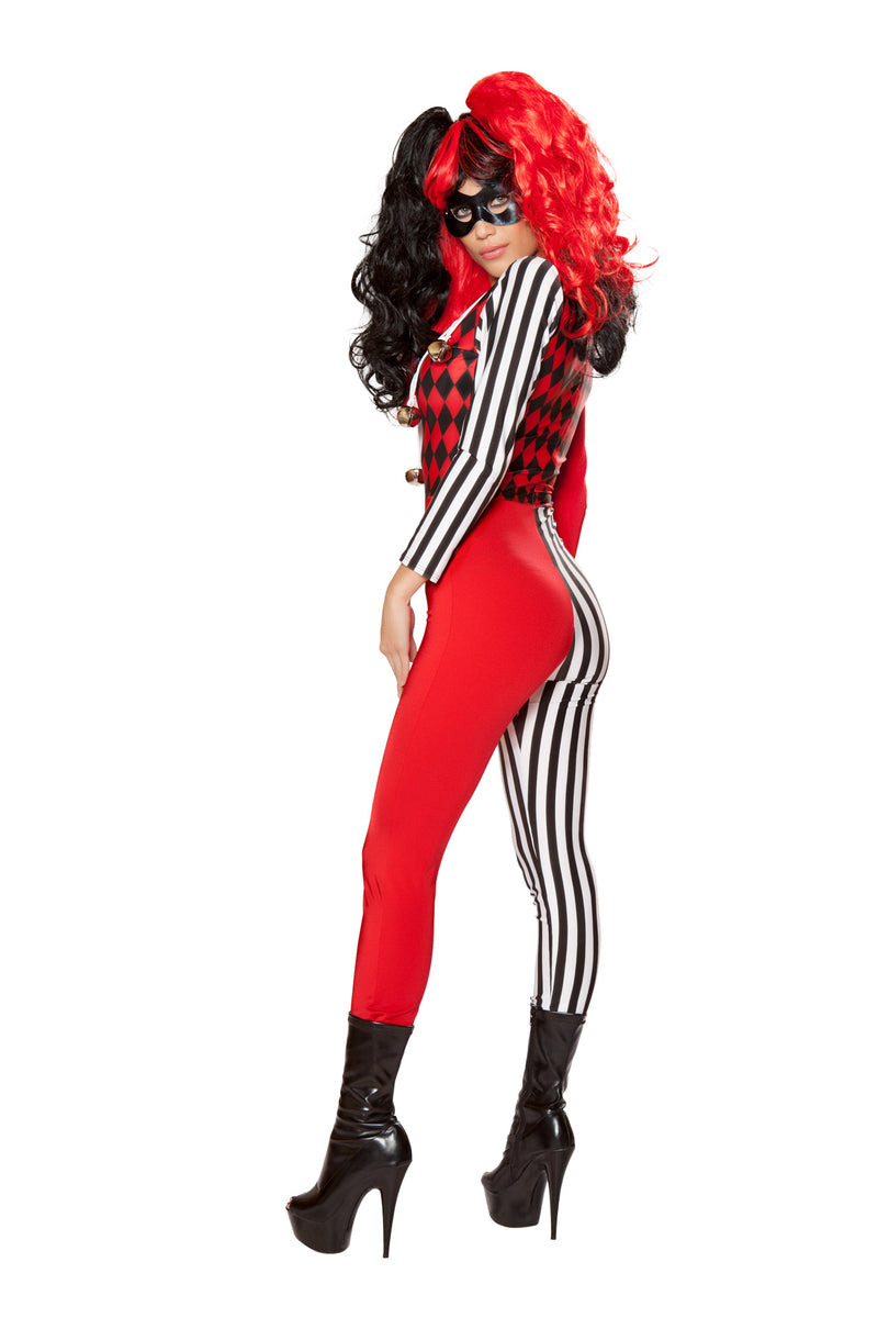 2 PC Crazy Jester Villian Harlequin Black & Red Jumpsuit w/ Mask Costume - Fest Threads