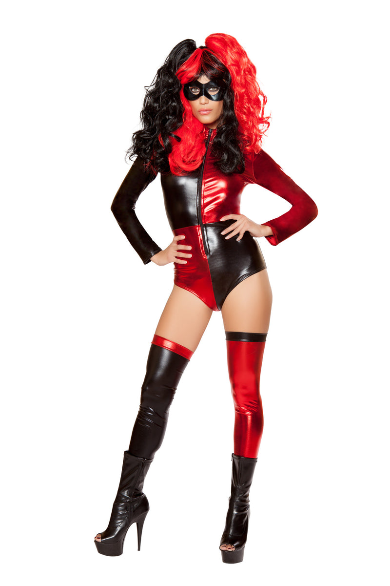 2-PC-Crazy-Jester-Villian-Red-&-Black-Long-Sleeve-Romper-w/-Mask-Party-Costume