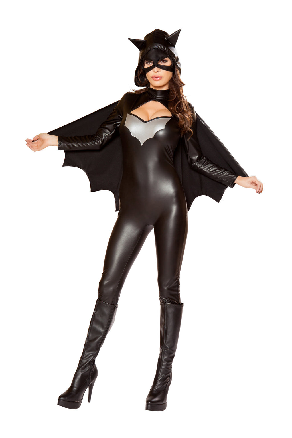 4-PC-Sexy-Bat-Lady-Hero-Black-Jumpsuit-w/-Accessories-Party-Costume