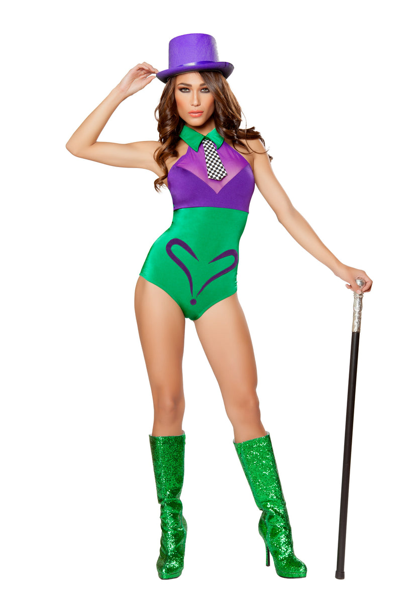 1-PC-Riddle-Joke-Super-Villian-Lady-Green-and-Violet-Romper-Party-Costume