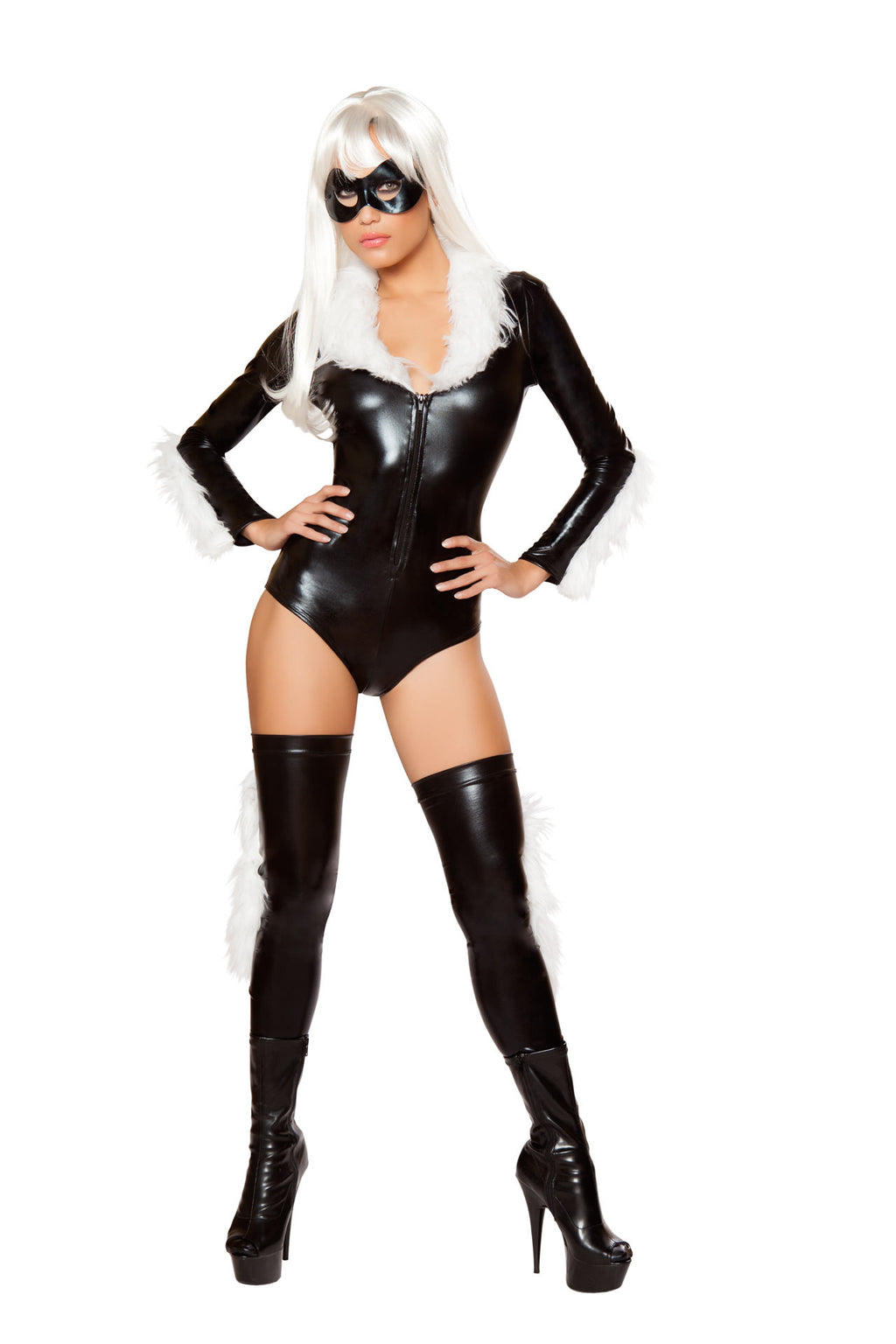 3-PC-Spider-Black-Cat-Lady-Black-Fur-Romper-w/-Stockings-&-Mask-Party-Costume