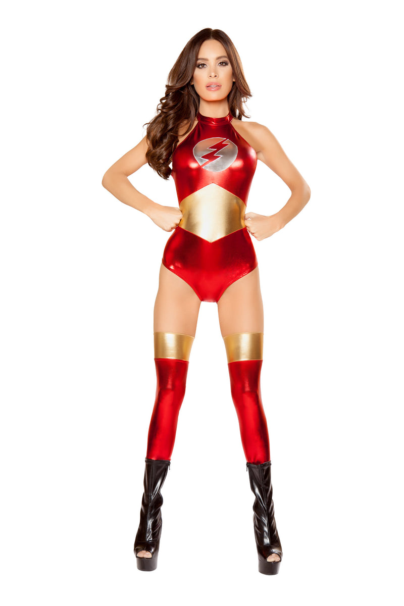 1-PC-Lightning-Lady-Super-Hero-Red-and-Gold-Romper-Party-Costume