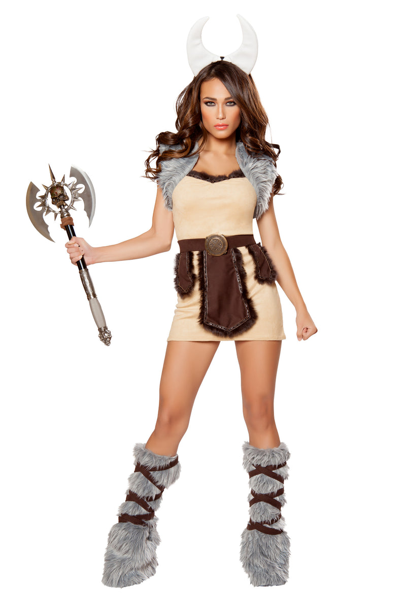 4-PC-Viking-Warrior-Woman-Tan-Fur-Dress-w/-Vest,-Belt,-&-Horns-Party-Costume
