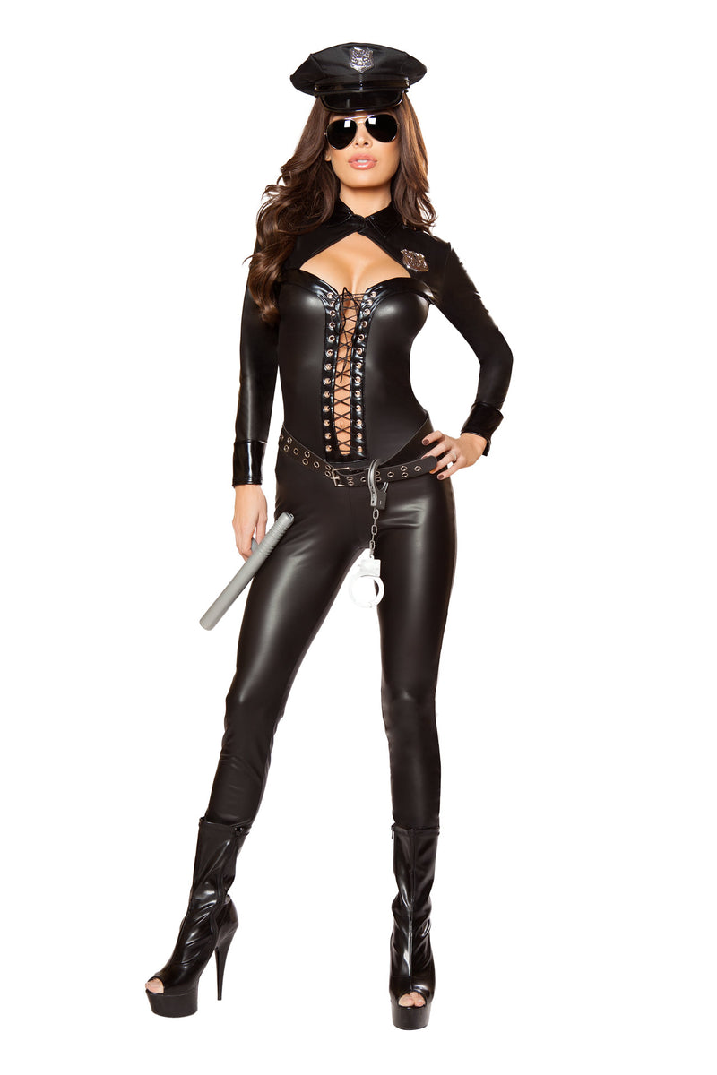 6-PC-Police-Officer-Cop-Black-Lace-Up-Jumpsuit-w/-Accessories-Party-Costume