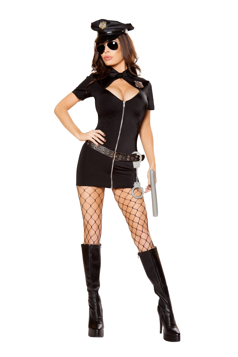 6-PC-Police-Officer-Cop-Black-Cutout-Zipper-Dress-w/-Accessories-Party-Costume