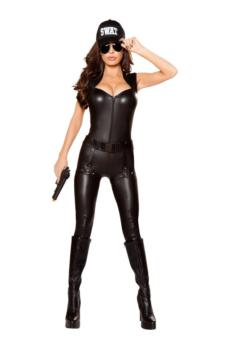2-PC-SWAT-Officer-Black-Zip-Up-Jumpsuit-Party-Costume