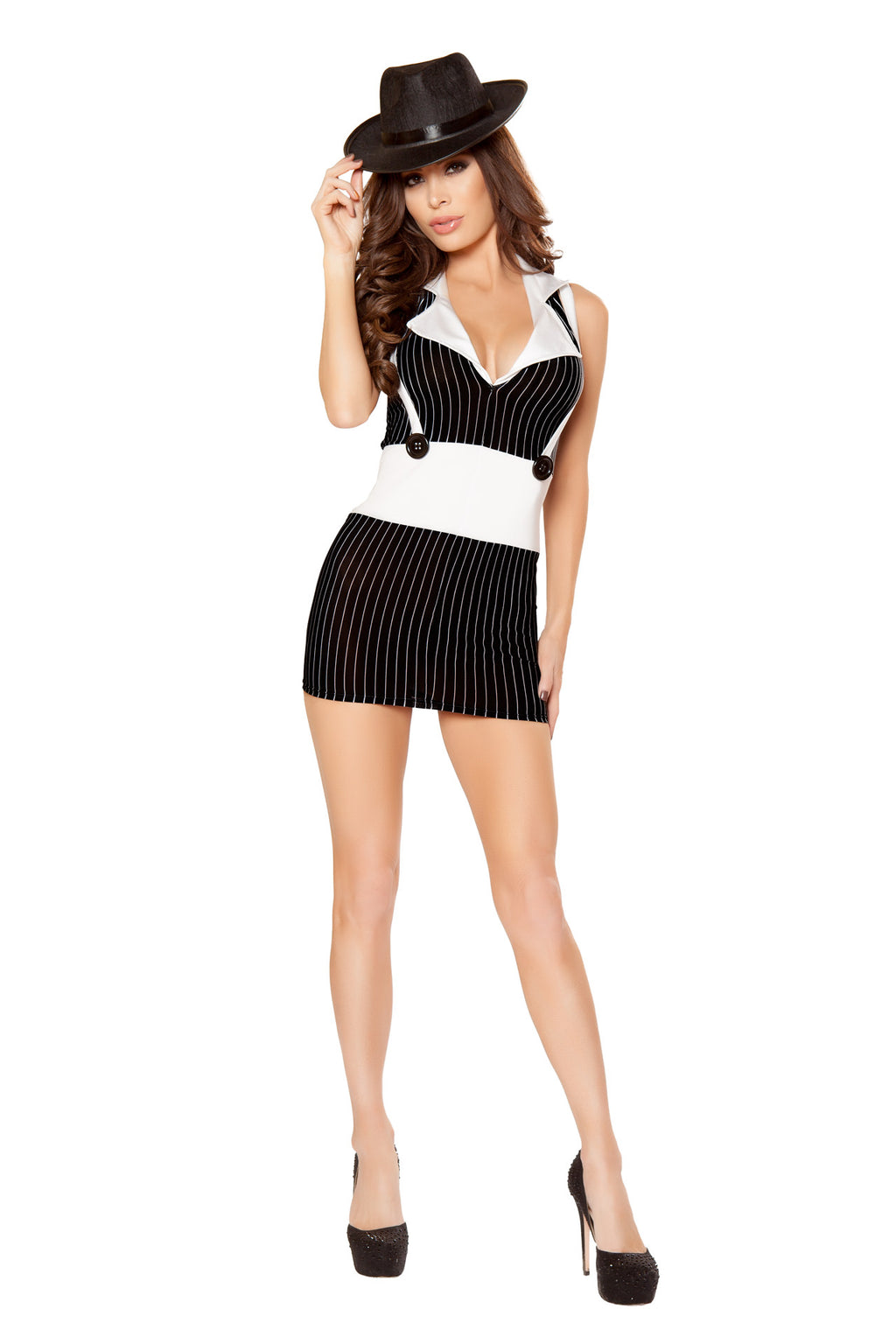 1-PC-Mafia-Gangster-Mob-Wife-Pinstriped-Suspender-Dress-Party-Costume
