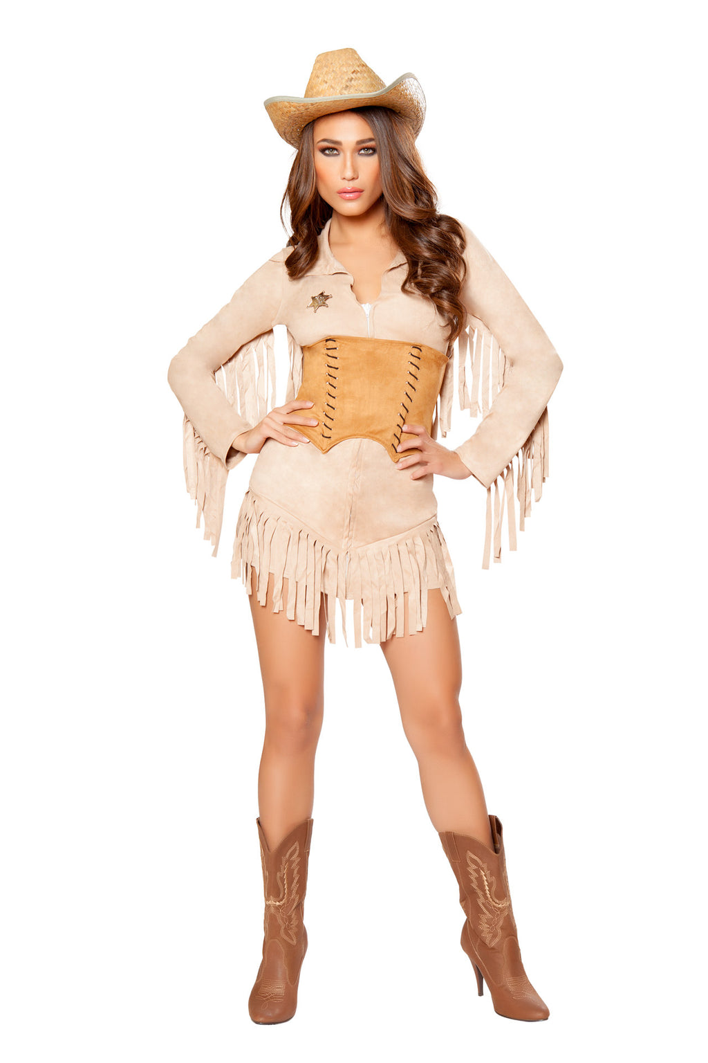 3-PC-Sheriff-Cowgirl-Tan-Fringe-Suede-Cincher-Dress-w/-Badge-Party-Costume