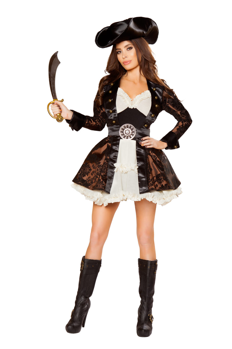 5-PC-Pirate-Lady-White-Ruffle-Dress-&-Brown-Jacket-w/-Accessories-Party-Costume
