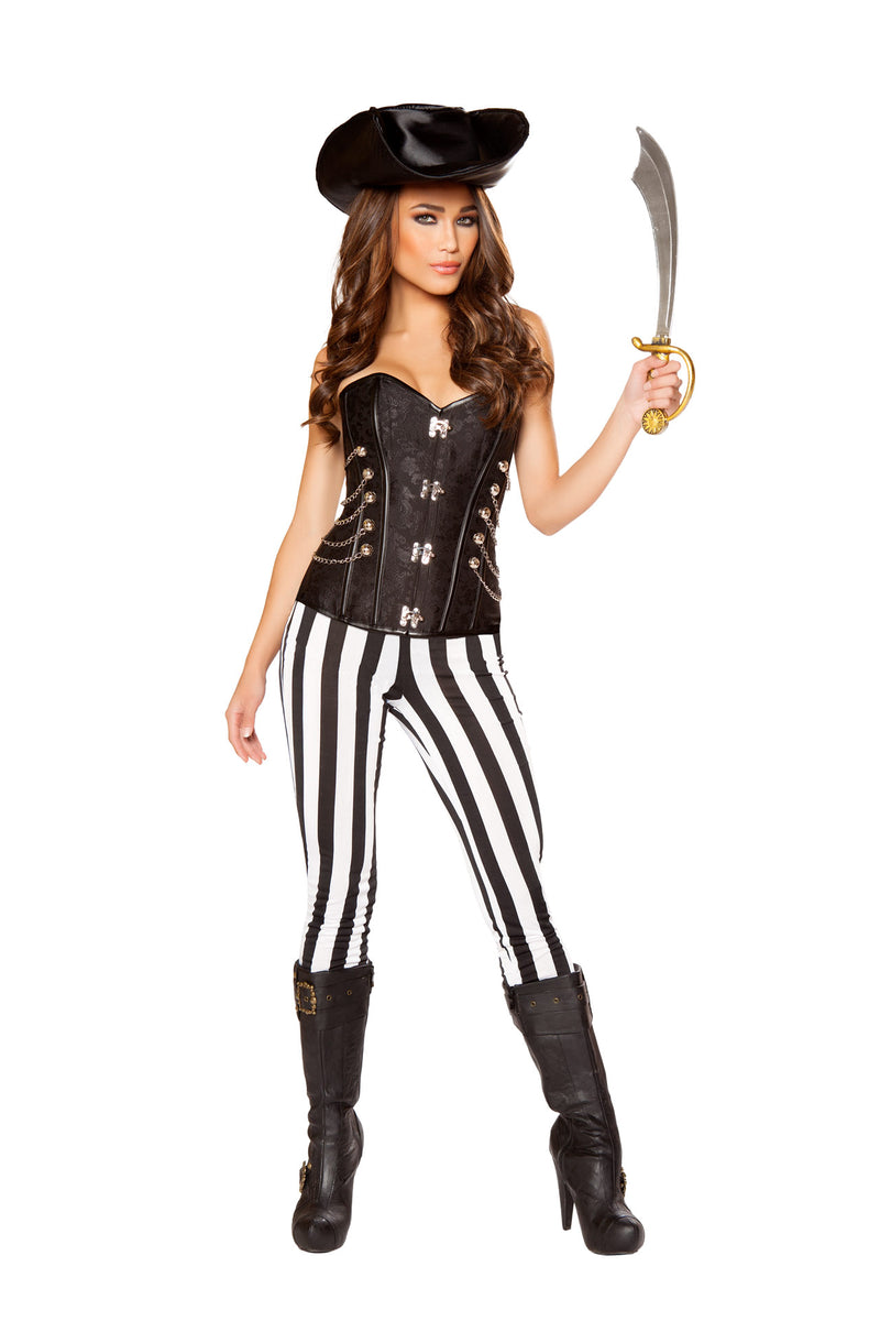 5-PC-Pirate-Lady-Black-Corset-Top-&-Striped-Pants-w/-Sword-Party-Costume
