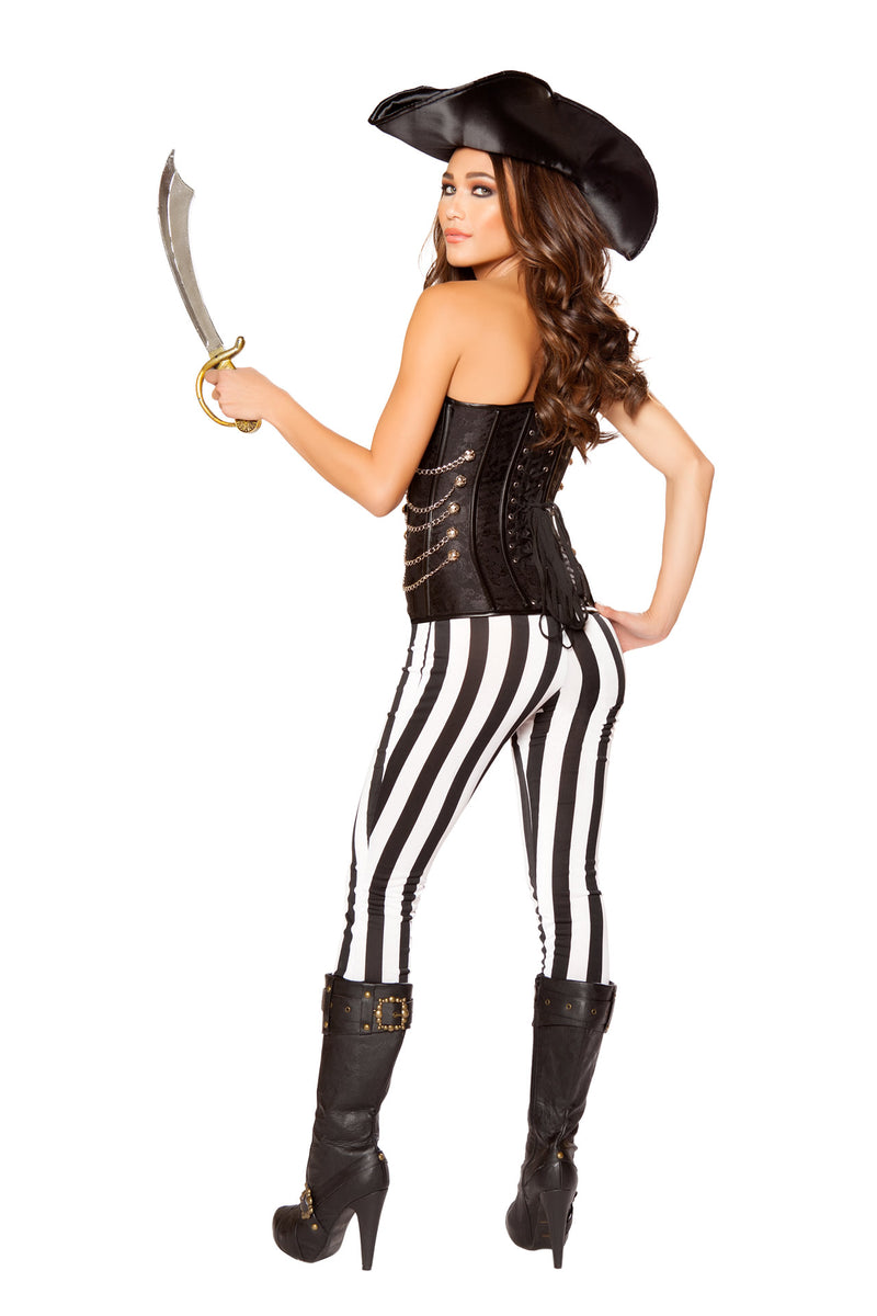 5 PC Pirate Lady Black Corset Top & Striped Pants w/ Sword Party Costume - Fest Threads