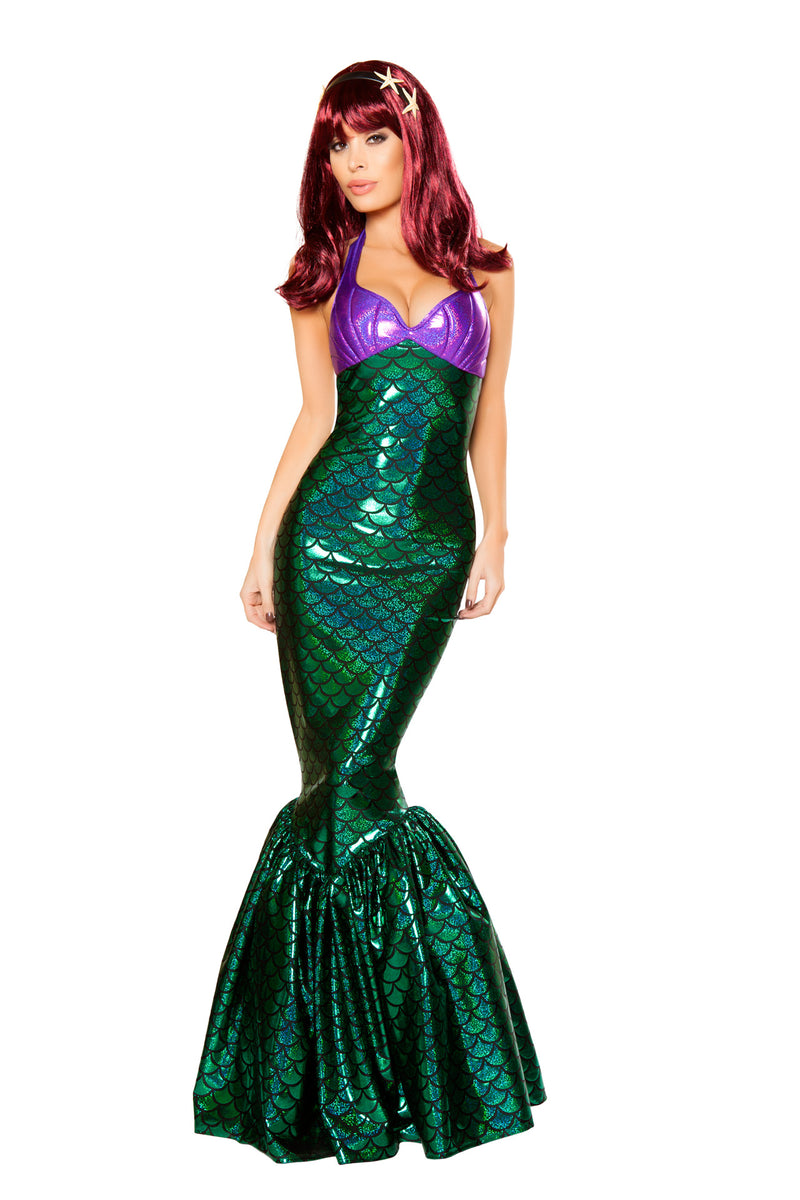 1-PC-Mermaid-Sea-Siren-Green-Scale-Maxi-Dress-w/-Purple-Shell-Top-Party-Costume