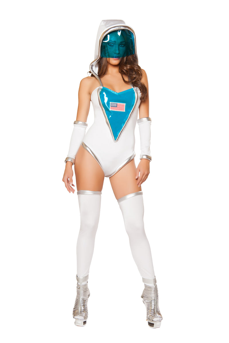 1-PC-Astronaut-Space-Explorer-White-USA-Romper-w/-Detachable-Hoodie-Party-Costume