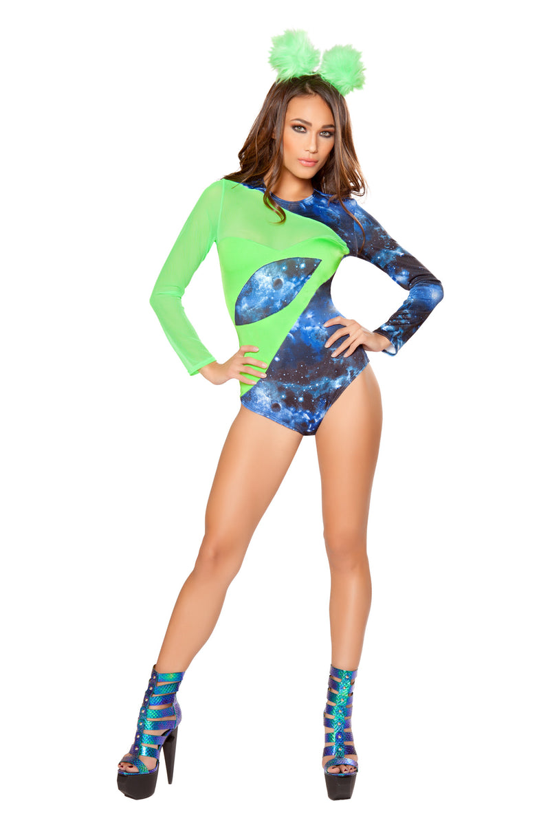 2-PC-Space-Explorer-Alien-Blue-&-Green-Galaxy-Print-Romper-Party-Costume-