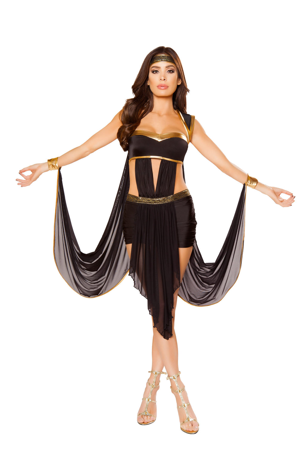 2-PC-Greek-Goddess-Black-Dress-w/-attached-Wristcuffs-&-Headband-Party-Costume-