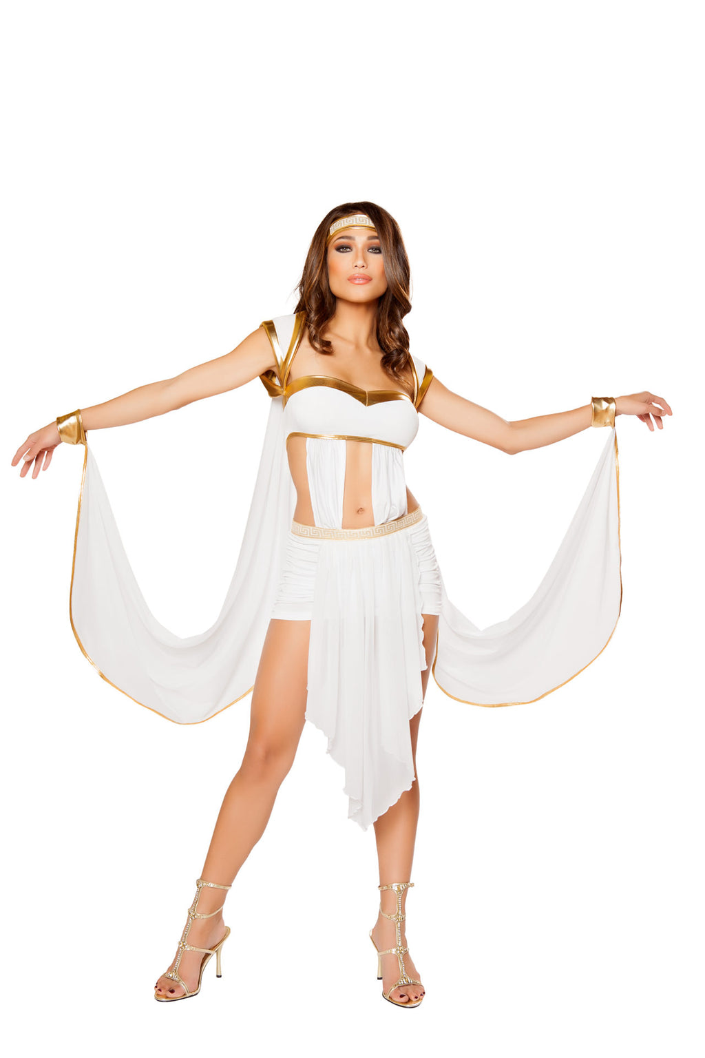 2-PC-Greek-Goddess-White-Dress-w/-attached-Wristcuffs-&-Headband-Party-Costume-