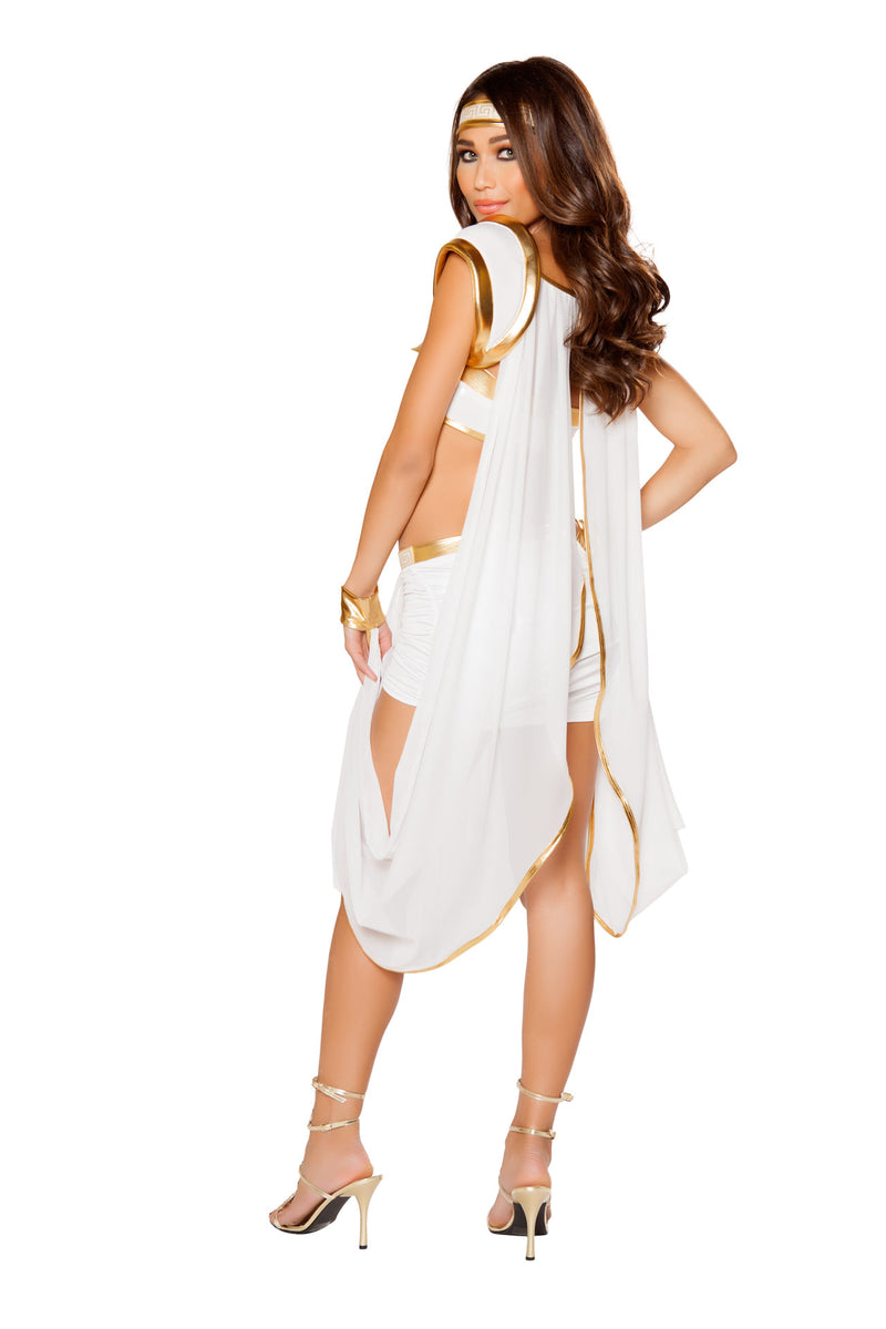 2 PC Greek Goddess White Dress w/ attached Wristcuffs & Headband Party Costume - Fest Threads