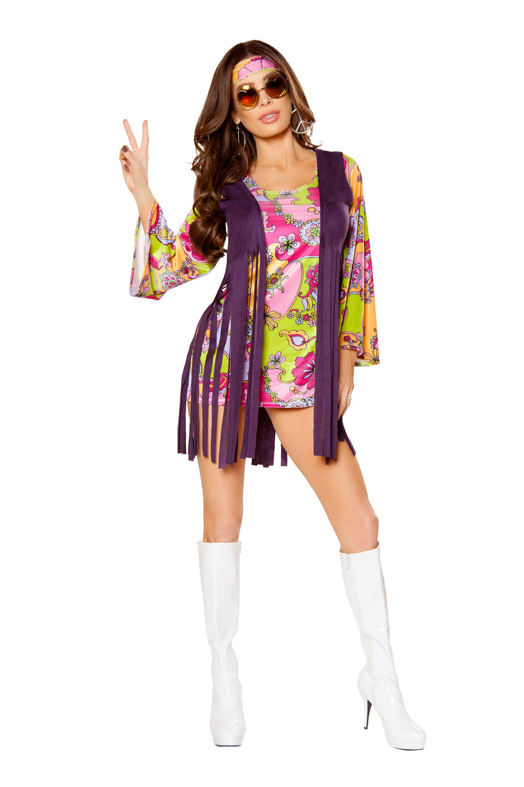 3-PC-Hippie-Paisley-Mini-Dress-w/-Purple-Fringe-Vest-&-Headband-Party-Costume-