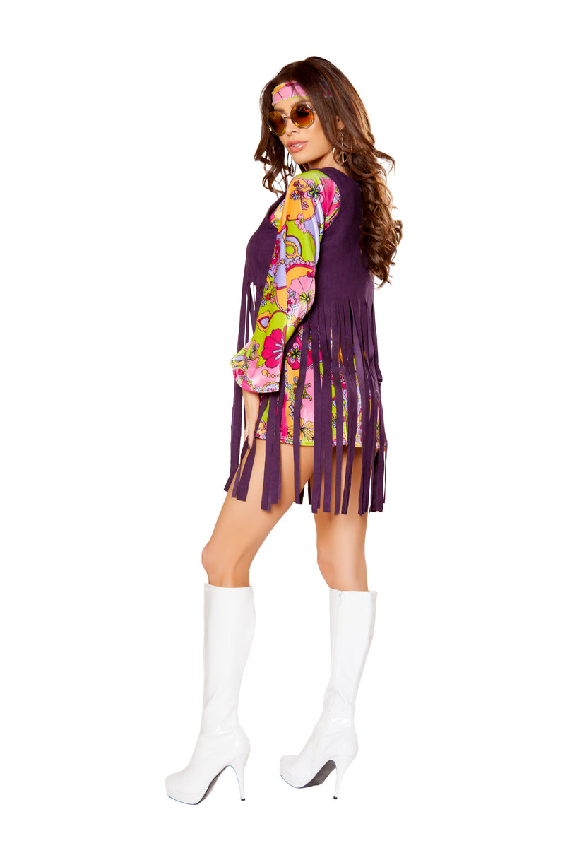 3 PC Hippie Paisley Mini Dress w/ Purple Fringe Vest & Headband Party Costume - Fest Threads