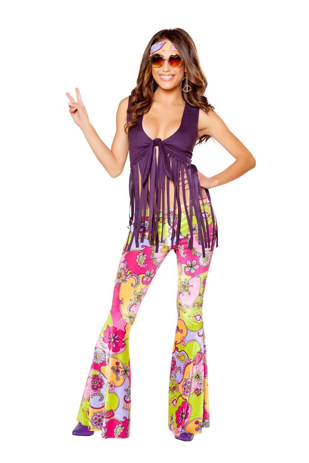 3-PC-Hippie-Purple-Fringe-Top-&-Paisley-Bellbottoms-w/-Headband-Party-Costume--