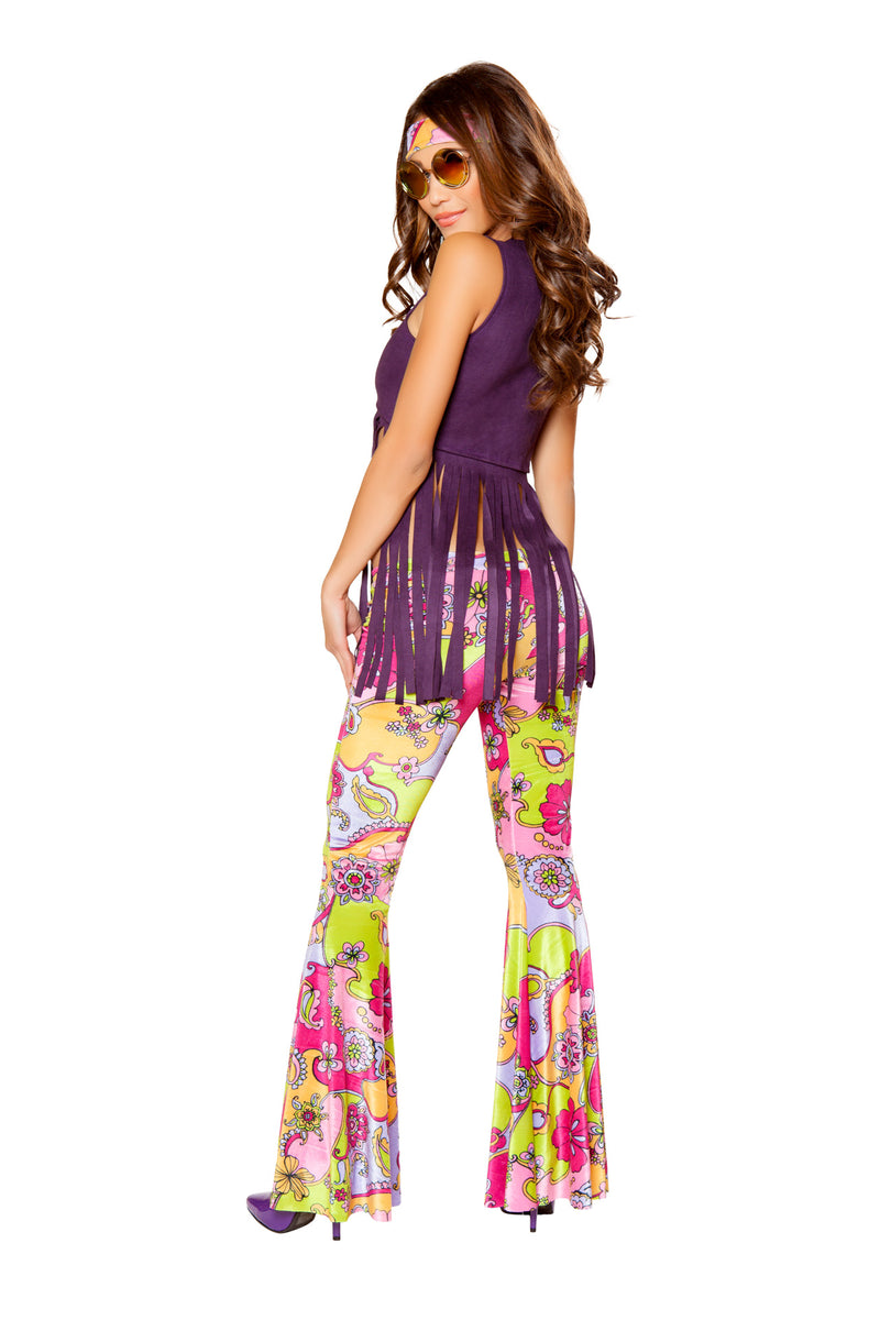 3 PC Hippie Purple Fringe Top & Paisley Bellbottoms w/ Headband Party Costume - Fest Threads