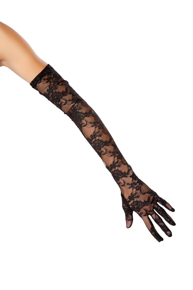 Adult-Women's-Black-Long-Lace-Sheer-Gloves-Party-Costume-Accessory
