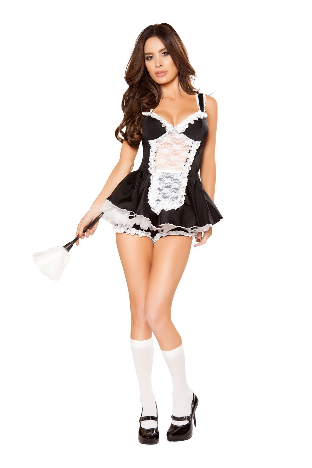 3-PC-Naughty-French-Maid-Lace-Top-&-Booty-Shorts-w/-Duster-Party-Costume