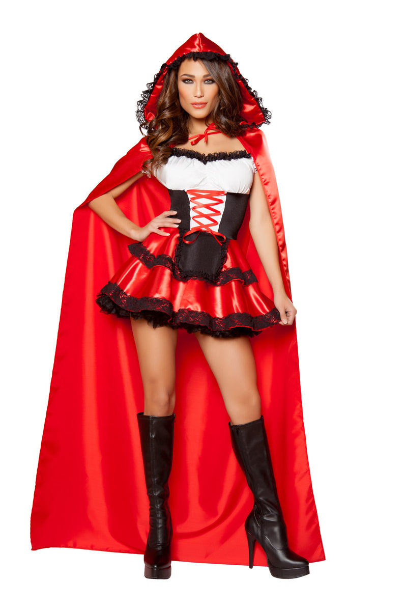 2-PC-Red-Riding-Hood-Ruffle-Lace-Up-Dress-&-Long-Hooded-Cape-Party-Costume
