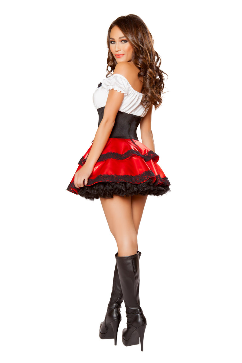 2 PC Red Riding Hood Ruffle Lace Up Dress & Long Hooded Cape Party Costume - Fest Threads