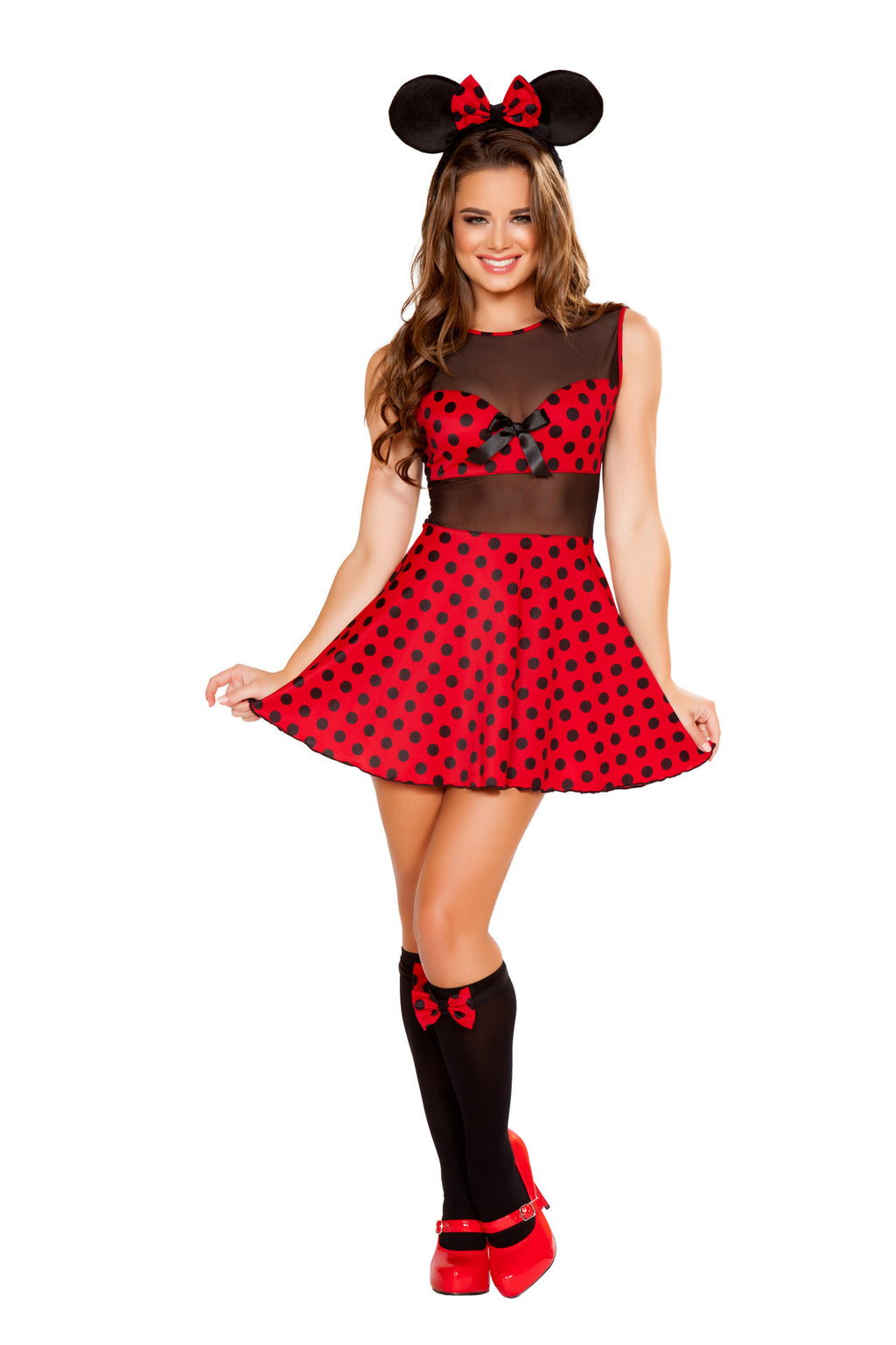 2-PC-Miss-Mouse-Red-&-Black-Polka-Dot-Dress-w/-Headband-Ears-Party-Costume
