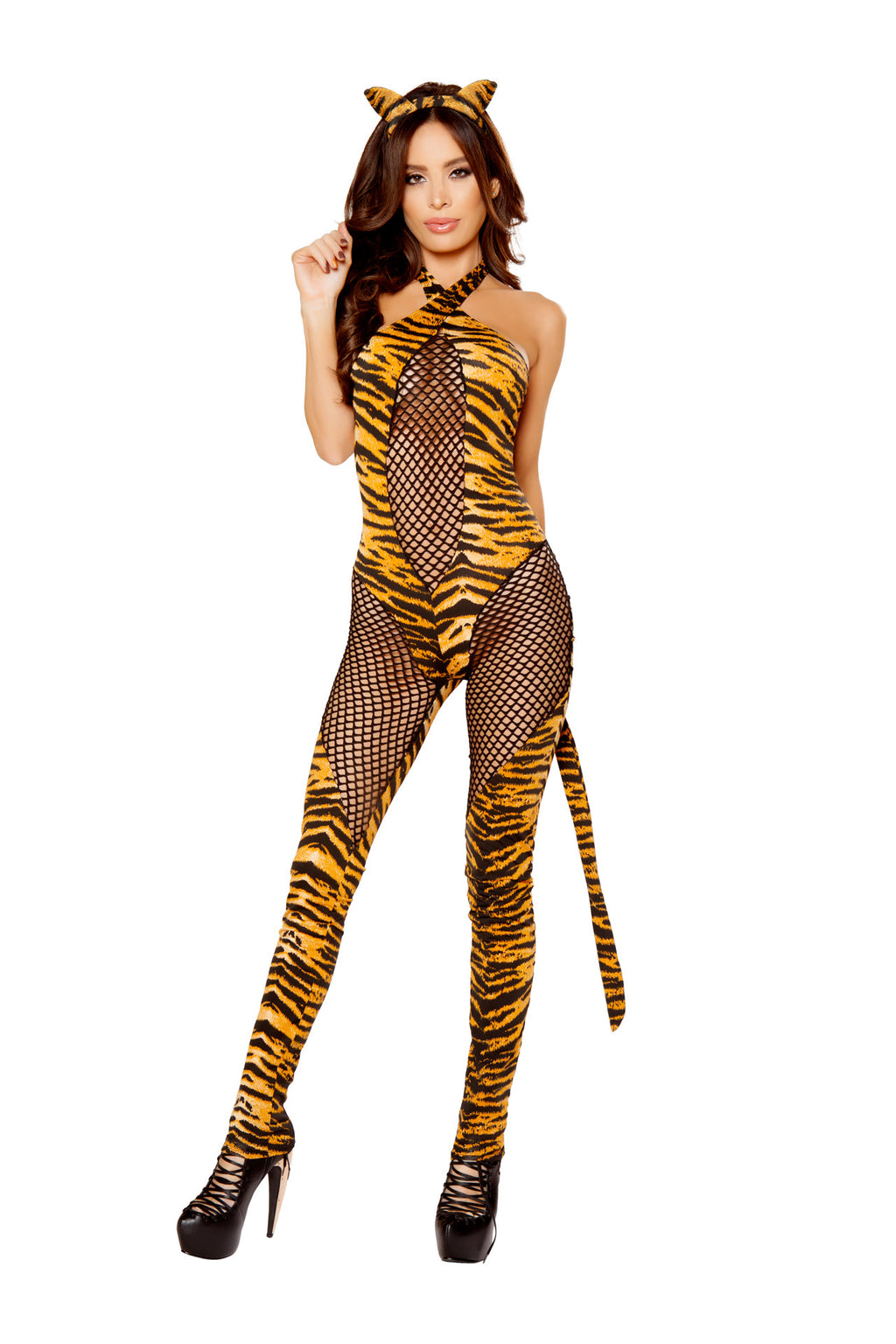 3-PC-Tiger-Cat-Fishnet-Jumpsuit-Catsuit-w/-Tail-&-Ears-Party-Costume