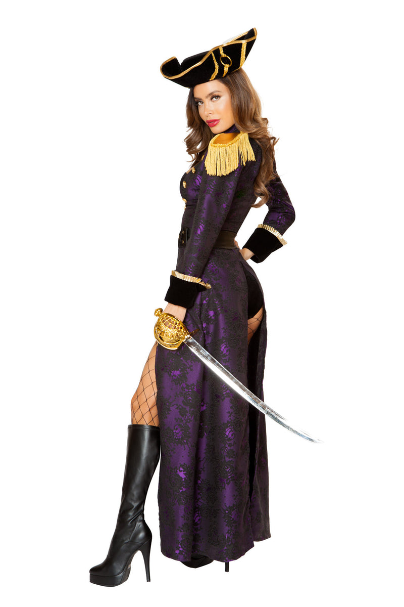 4 PC Pirate Black Romper &  Purple Long Coat w/ Accessories Party Costume - Fest Threads