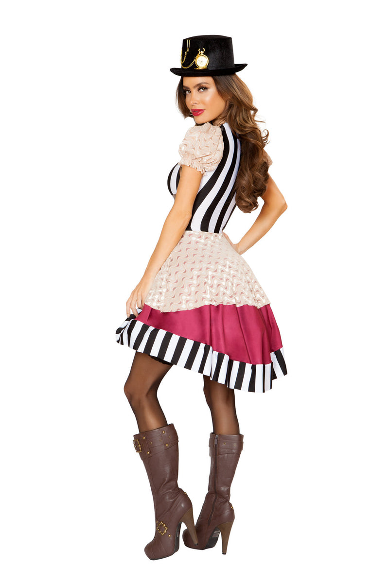 1 PC Steampunk Sci Fi Lady Black & White Stripe Layered Dress Party Costume - Fest Threads