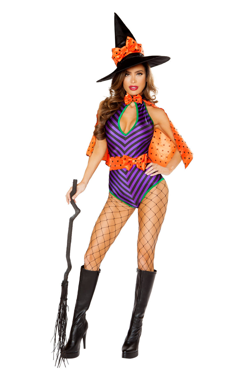 3-PC-Witch-Purple-Stripe-Romper-&-Orange-Polka-Dot-Cape-w/-Hat-Party-Costume