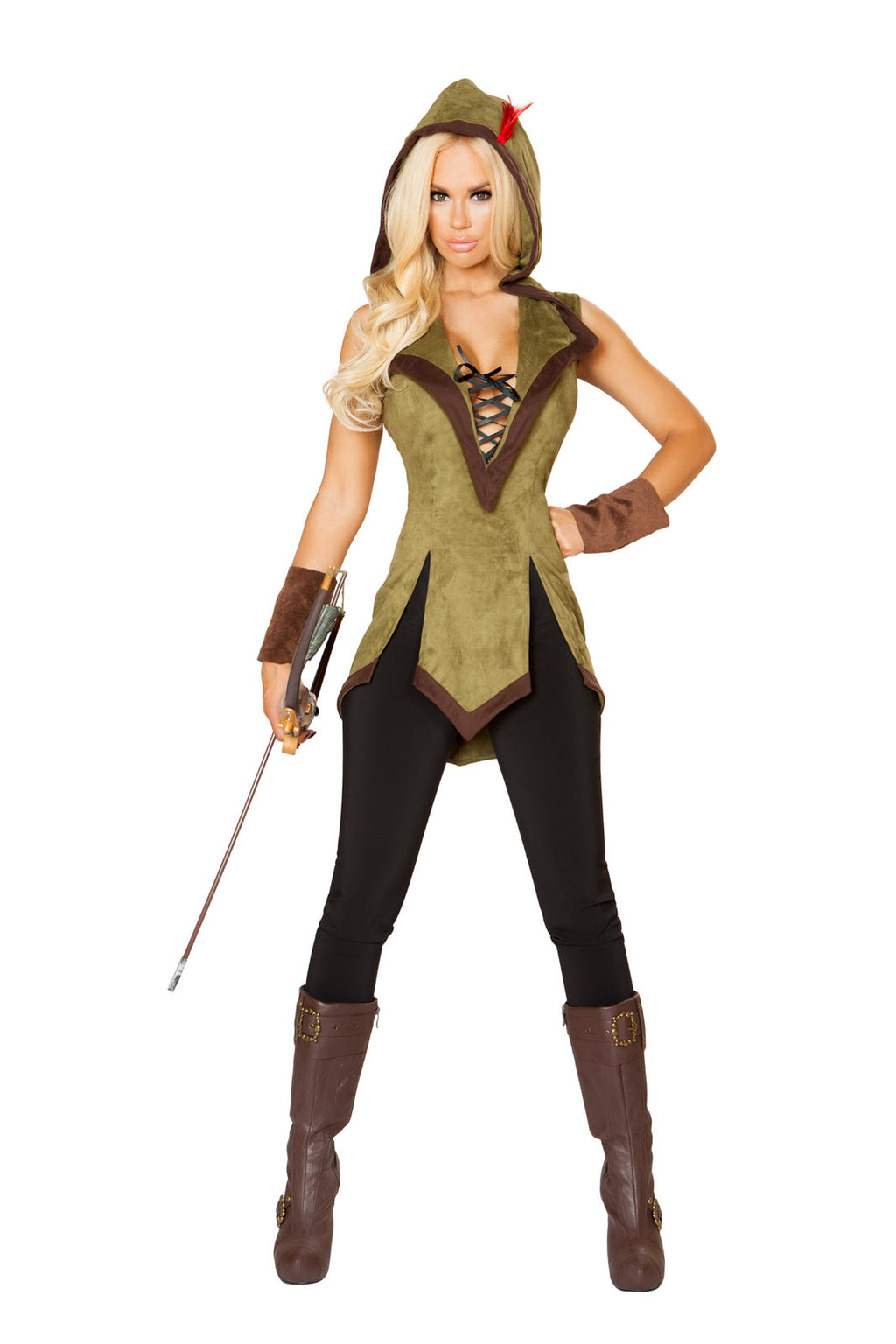 2-PC-Heroic-Archer-Outlaw-Green-Lace-Up-Hooded-Tunic-w/-Wrist-Cuffs-Party-Costume