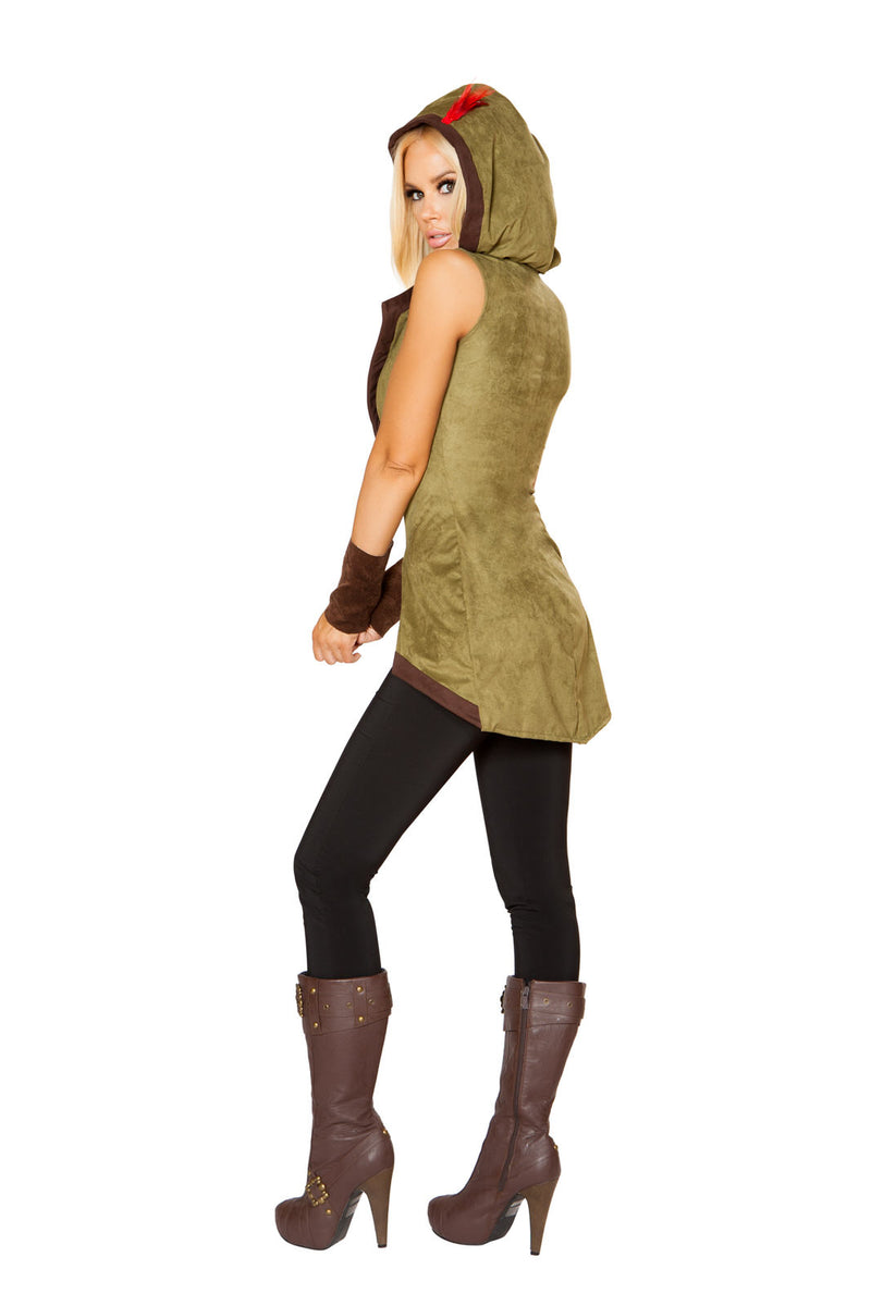 2 PC Heroic Archer Outlaw Green Lace Up Hooded Tunic w/ Wrist Cuffs Party Costume - Fest Threads