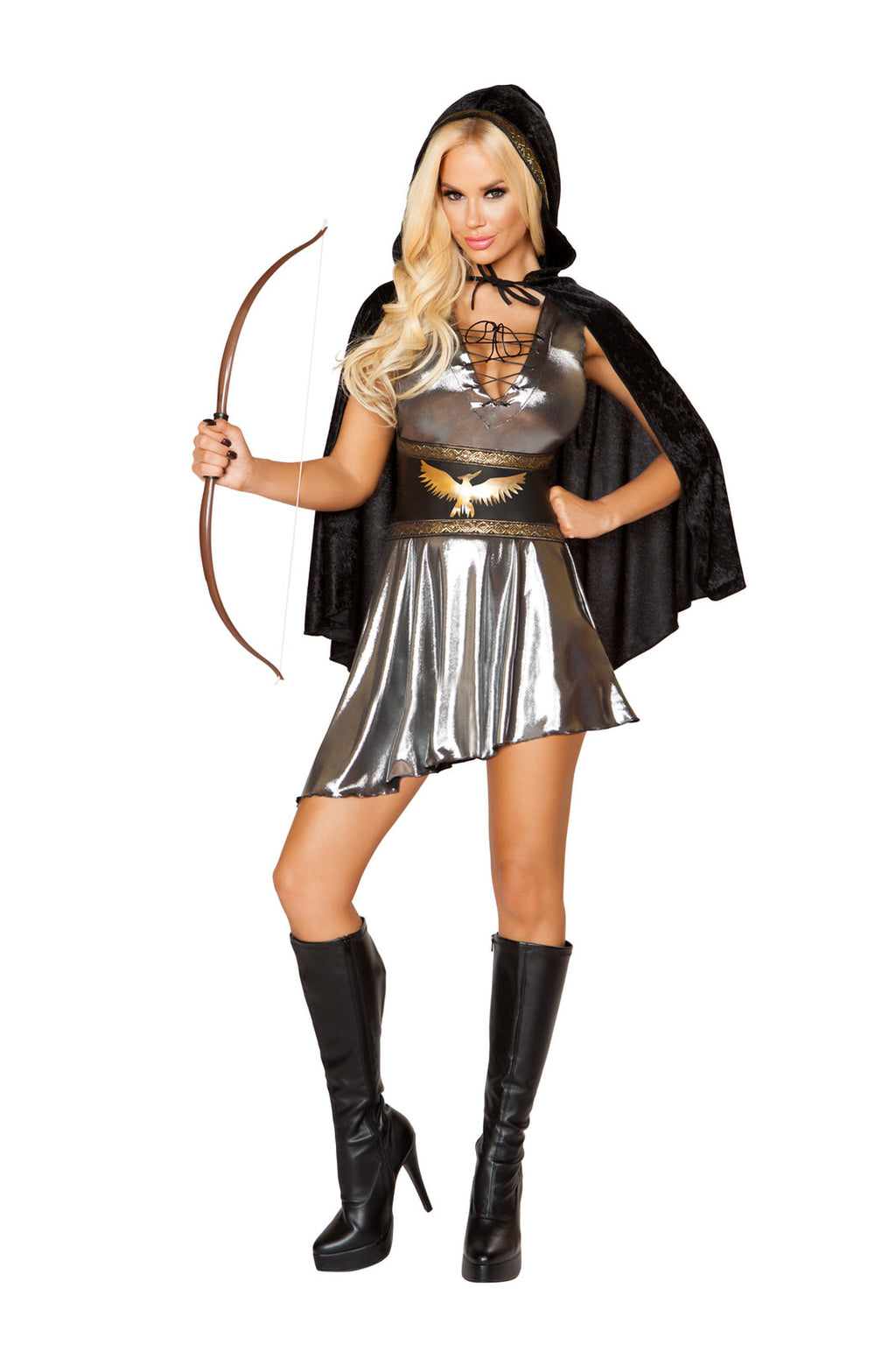 3-PC-Games-Archer-Silver-Lace-Up-Cincher-Dress-&-Black-Hooded-Cape-Party-Costume
