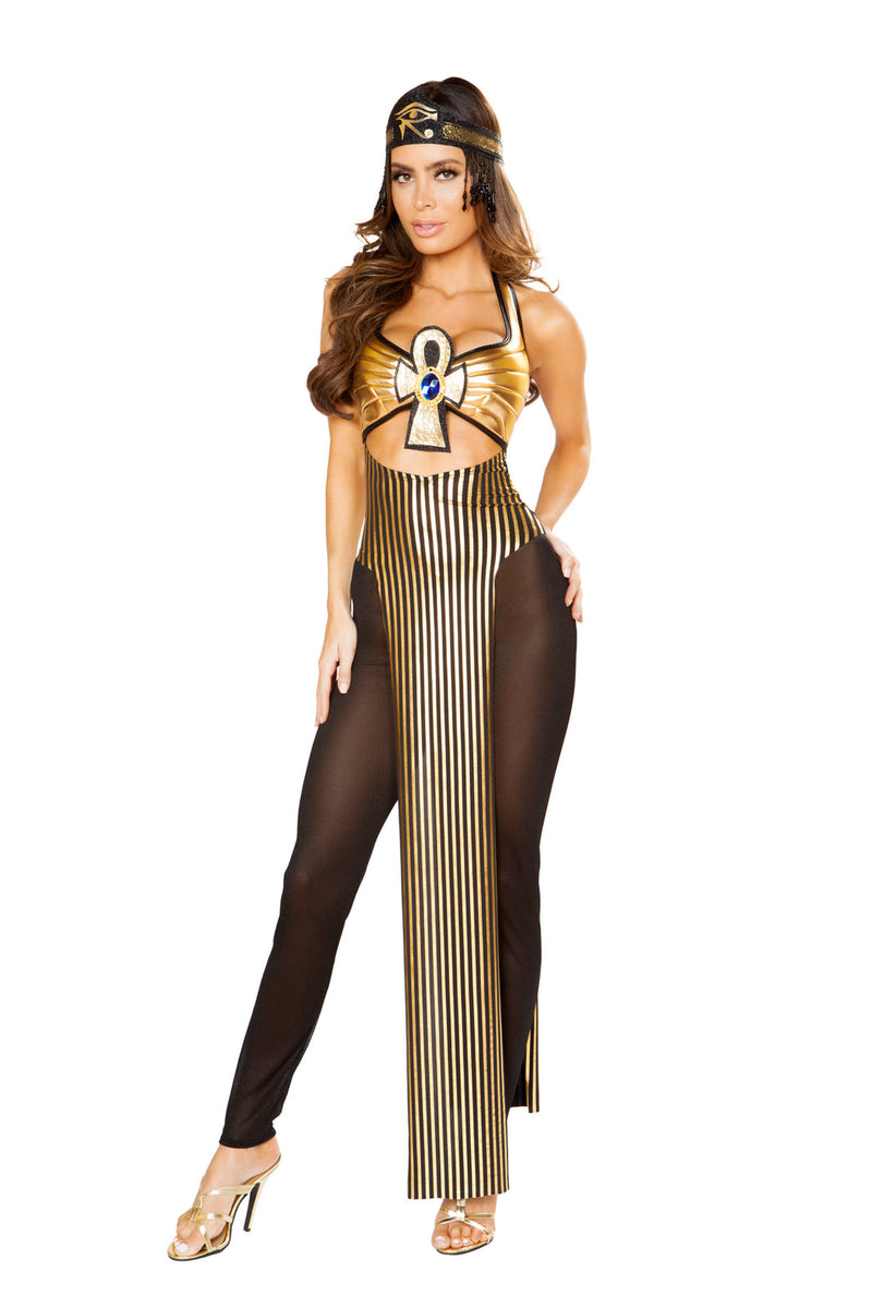 3-PC-Cleopatra-Metallic-Gold-Long-Tunic-&-Sheer-Tights-w/-Headband-Party-Costume