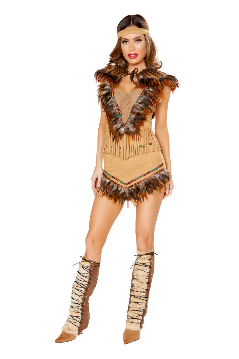 3-PC-Native-American-Girl-Tan-Mesh-Crop-Top-&-Skirt-w/-Headband-Costume-