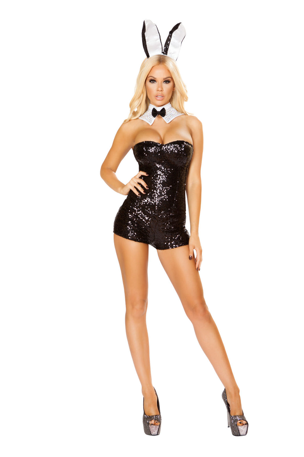 3-PC-Bunny-Model-Black-Sequin-Corset-&-Shorts-w/-Accessories-Party-Costume