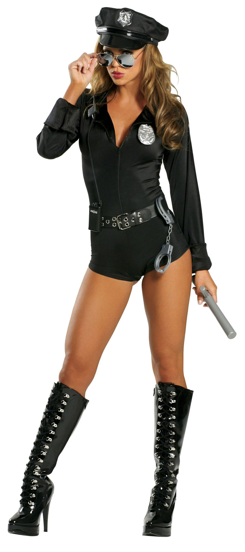 7-Piece-Police-Officer-Cop-Long-Sleeve-Romper-w/-Accessories-Party-Costume