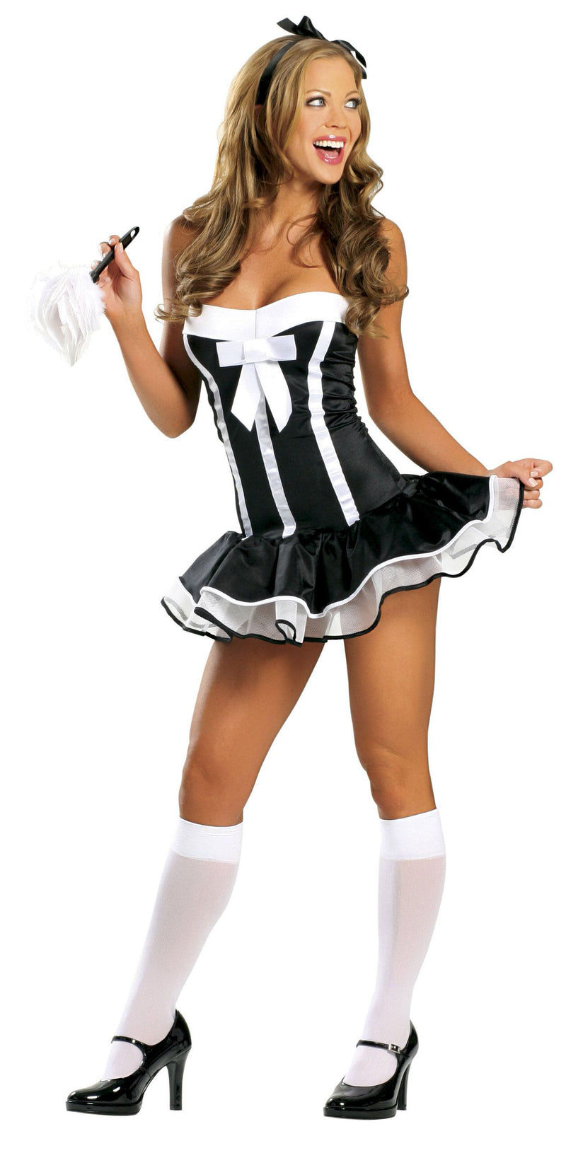 2-Piece-Naughty-French-Maid-Black-Mini-Petticoat-Dress-Party-Costume