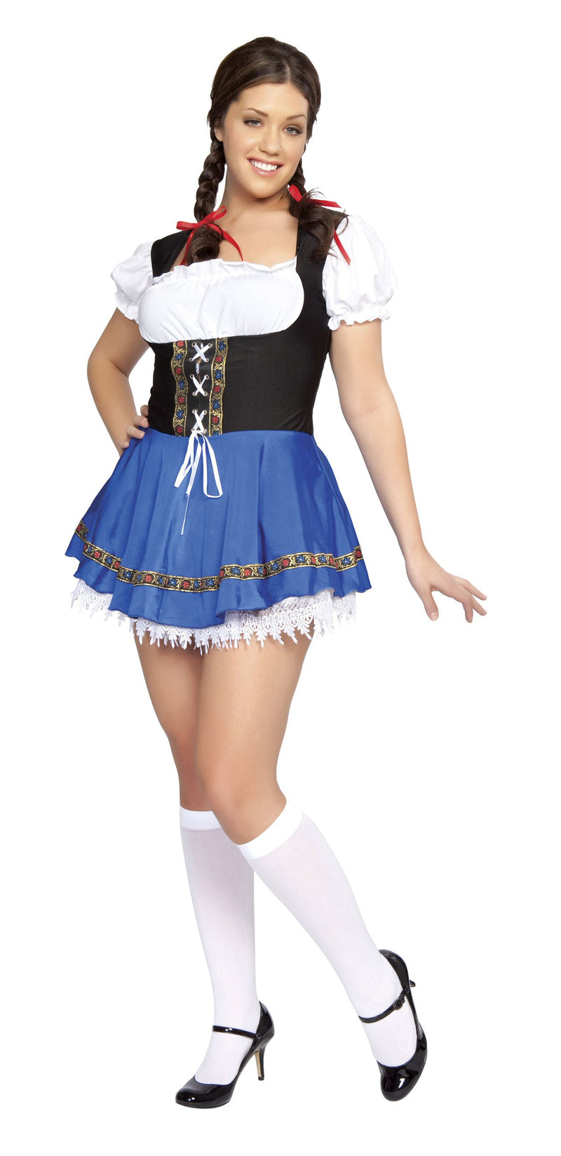 1-Piece-German-Beer-Girl-Bar-Maiden-Oktoberfest-Lace-up-Mini-Dress-Party-Costume